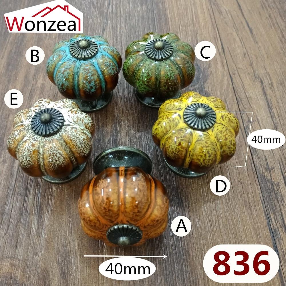 5pcs/Pack 40mm Pumpkin ceramic knob Vintage Colorful dresser door knob Zinc alloy Kitchen Furniture handle cabinet drawer pull