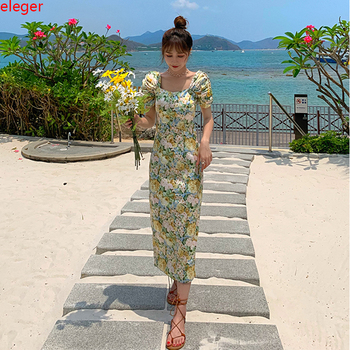 Vintage Floral Print Women Bodycon Dress Summer Long Retro Slim Elegant Party Dress Bohemian Tropical Vacation Dress Runway 2020 tropical print knot cuff dress