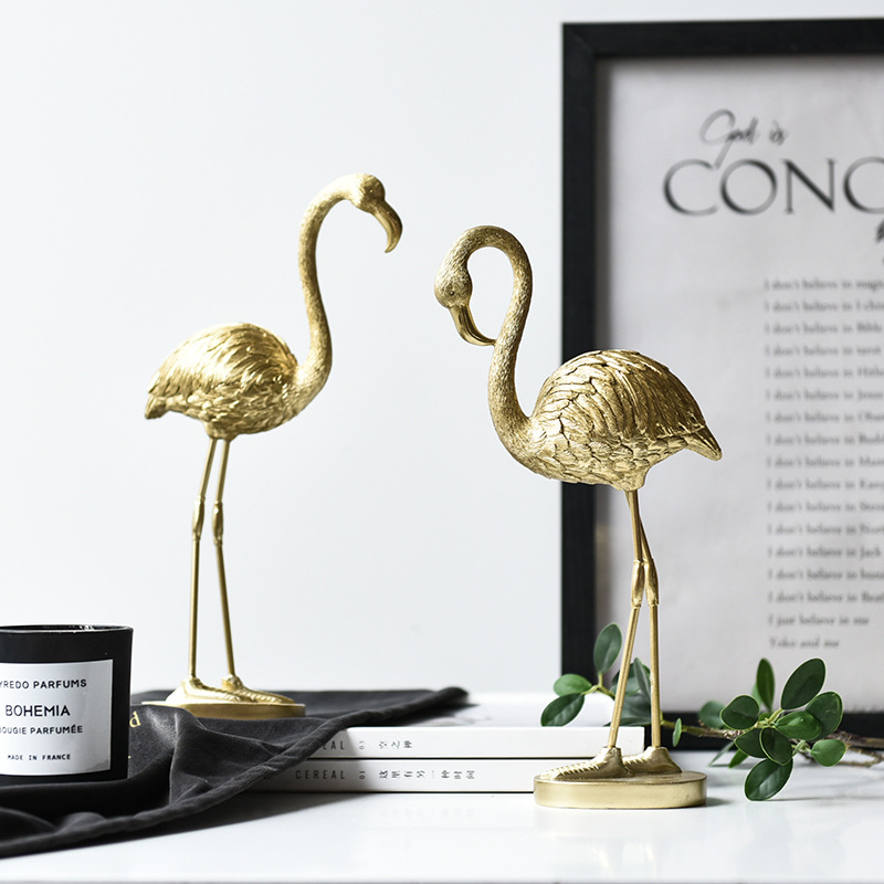 Nordic Light Luxury Golden Flamingo Window Home Decoration Resin Decoration Crafts TV Cabinet Personality Creative Decorations