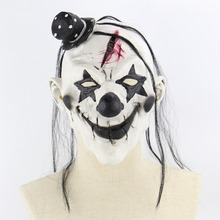 1PCS Deluxe Horrible Scary Clown Mask Adult Men Latex White Hair Halloween Evil Killer Demon