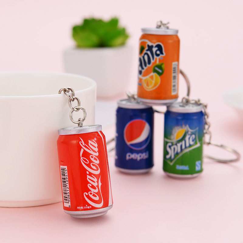 Newest Summer Drink Bottle Beverage Keychains Pendant Bag Phone Key Ring Key Chain Fashion Jewelry Gift For Women