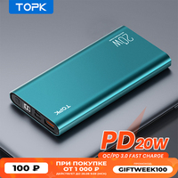 TOPK I1007P Power Bank 10000mah PD 20W Charger Portable Powerbank 10000 mah External battery Fast Charge for iPhone Xiaomi Mi 9