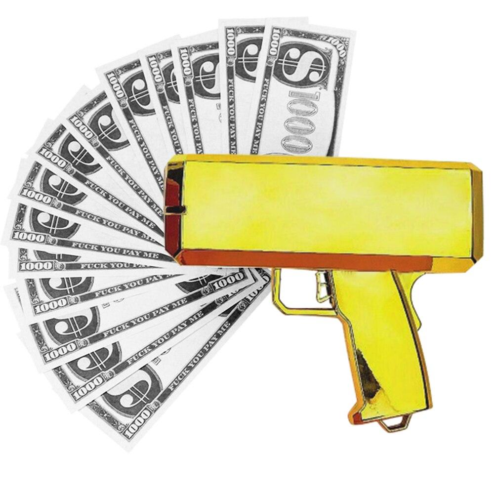 Chovendo notas arma brinquedo dispensador dinheiro dinheiro máquina de plástico natal presente de casamento brinquedo ao ar livre presente aniversário 2020
