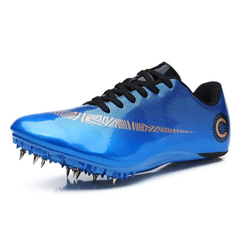 Мужские и женские спортивные кроссовки с шипами на шнуровке для подростков; спортивные кроссовки с шипами; цвет оранжевый, зеленый; мужские кроссовки для бега; спортивная обувь - Цвет: Blue