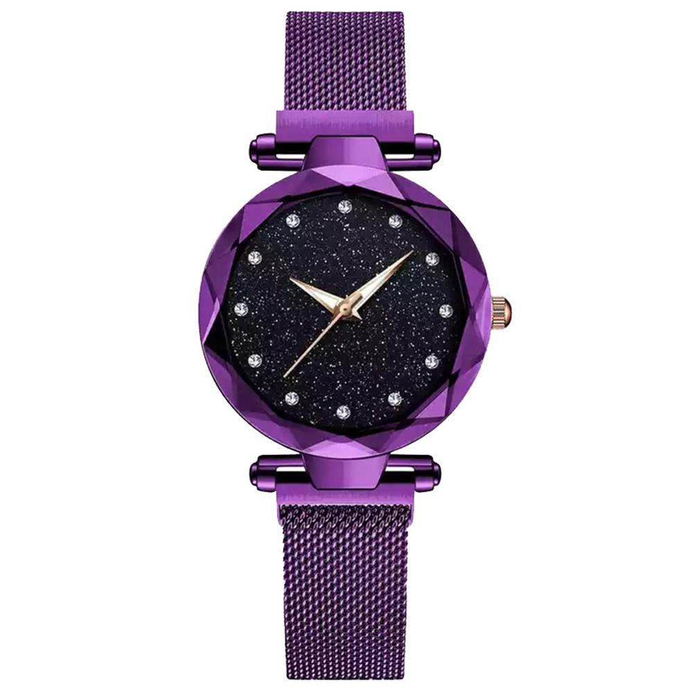Luxury Starry Sky Stainless Steel Mesh Bracelet Watches For Women Crystal Analog Quartz Wristwatches Ladies Sports Dress Cloc(China)