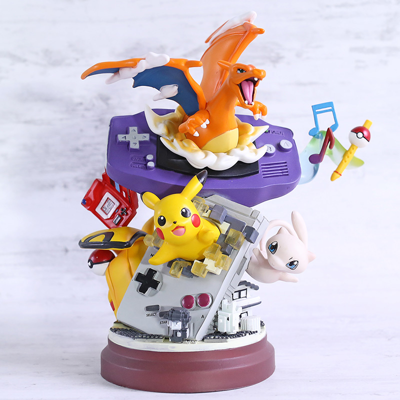 Cartoon Monster Charizard Mew Gameboy PVC Statue Figure Collectible Model Toy