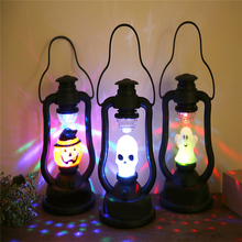 цена 1pc Halloween Pumpkin Witch Skeleton Lamp Decor Ghost Shout Light Poratable Lamps Halloween Party Home Bar Hotel Decoration
