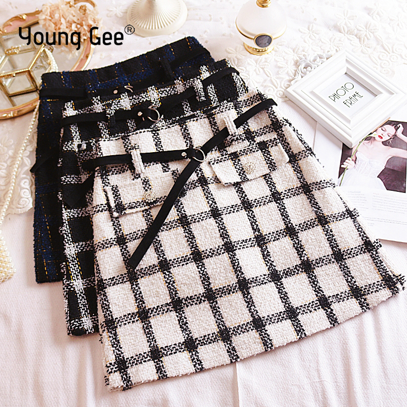 YoungGee Vintage Autumn Crystal Button Fringe Tweed Plaid Mini Skirt Women 2019 Fashion A Line Back Zipper Ladies Casual Skirts