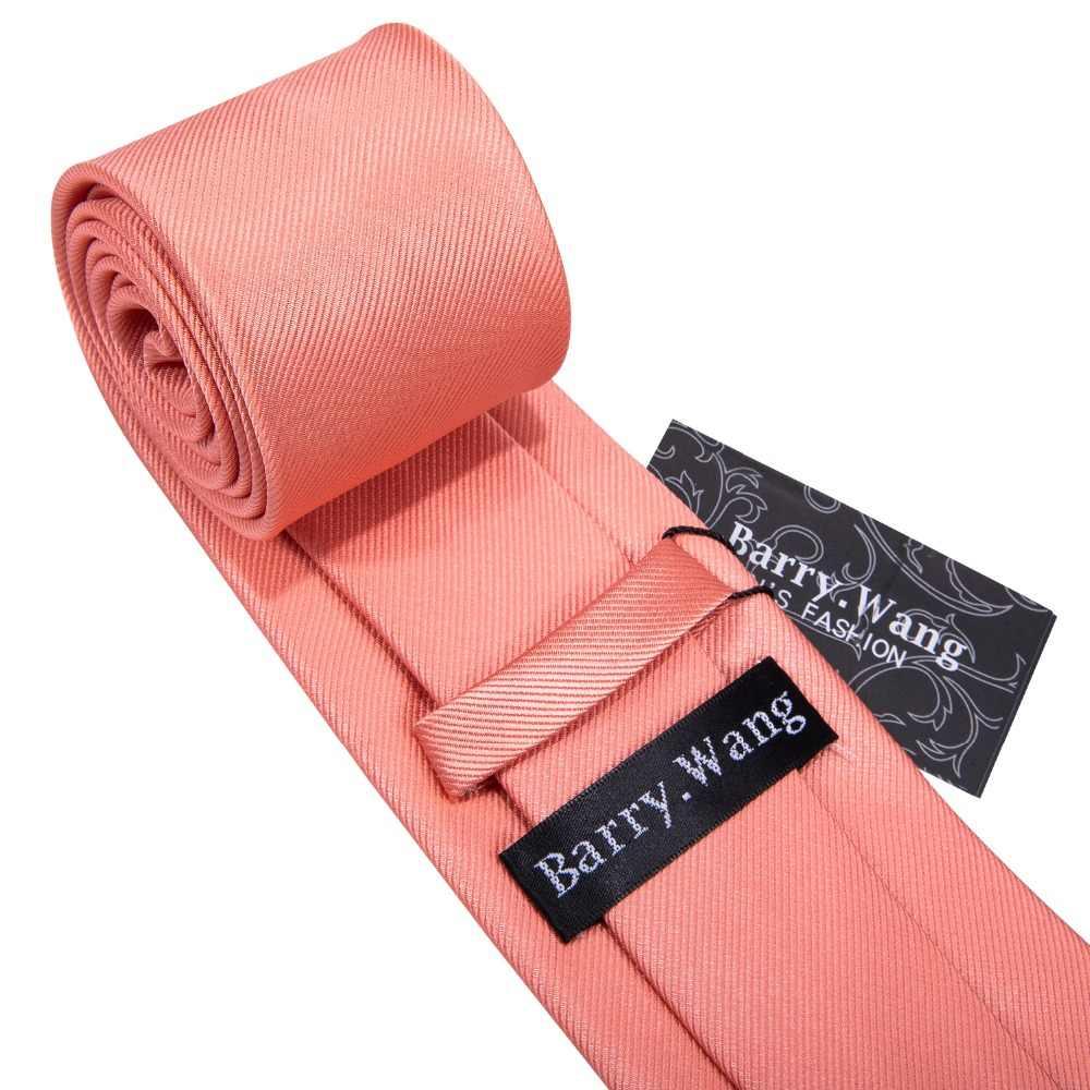 Barry. วัง 16 รูปแบบ Coral สีชมพูงานแต่งงาน Tie Peach Solid 100% SILK TIES สำหรับผู้ชายงานแต่งงานธุรกิจหรูหรายี่ห้อ Neckties ชุด