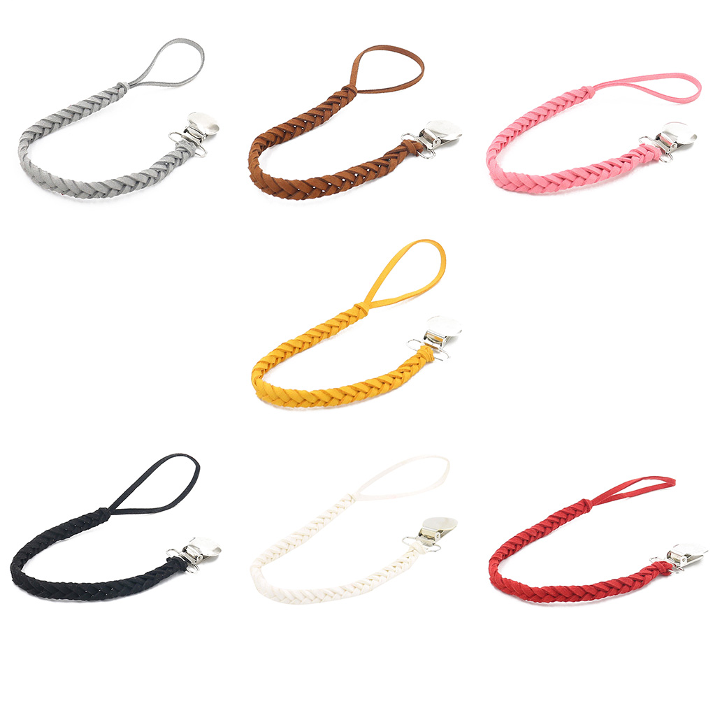 Leather Woven Alloy Colorful Pacifier Chain Braided Clip Holder Baby Feeding Teether Accessories