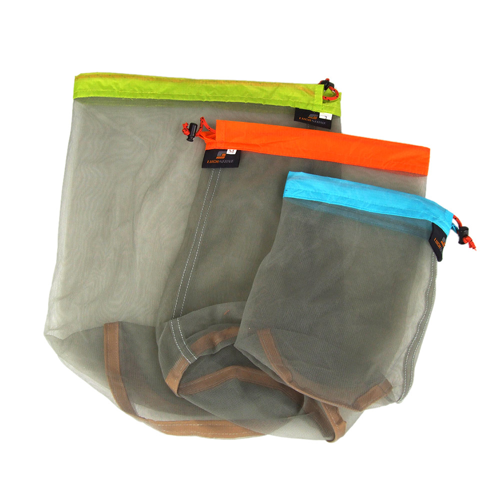 Green L Vbestlife Stuff Sacks Nylon Mesh Drawstring Stuff Storage Bag Ultralight Mesh Drawstring Sack for Outdoor Travel Hiking Camping
