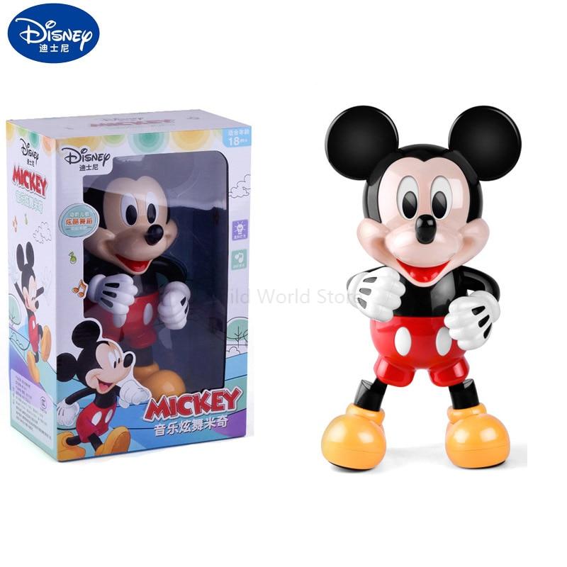 Original dança mickey mouse com música disney brinquedos deslumbrante brilhante eletrônico andando robô figuras de ação crianças brinquedos 2y11