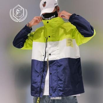 Men Fashion Loose Print Jacket Casual Patchwork Hip Hop Coat