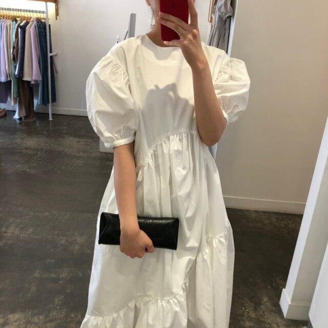 Vintage Loose High Waist Elegant Puff Sleeve Maxi Dress 2