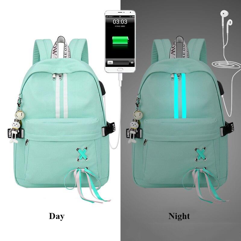 Anti Theft Reflective Waterproof Women Backpack Usb Bag