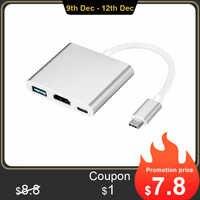 Loại C USB 3.1 Để USB-C 4K USB USB 3.0 Cáp Chuyển Đổi 3 Trong 1 HUB Cho MacBook Pro