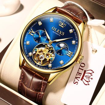 Zegarki marki OLEVS w pełni automatyczne zegarki mechaniczne hot-sprzedaży trend mody hollow koło zamachowe zegarki męskie tanie i dobre opinie 3Bar CN (pochodzenie) Sprzączka Moda casual Samoczynny naciąg 24cm STAINLESS STEEL Mechaniczne zegarki na rękę
