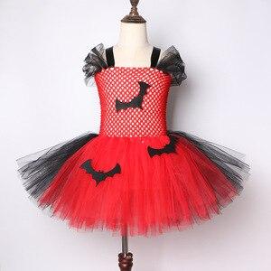 Image 4 - 2019 Vestido Tutu Vermelho E Preto do Bastão de Vampiro Trajes de Halloween Para Crianças Meninas de Carnaval Vestido de Festa Na Altura Do Joelho comprimento de Tule vestidos de Tutu