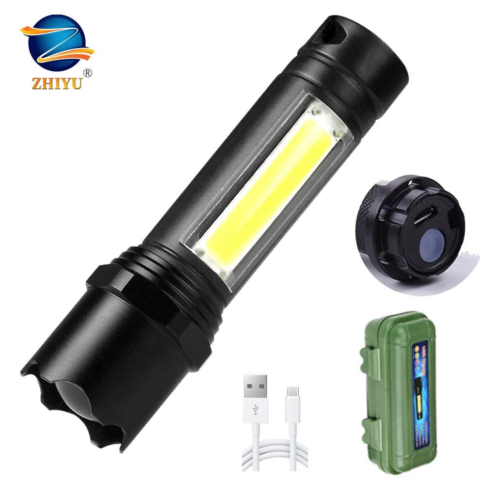 ZHIYU Mini LED COB Flashlight Portable Camping Working Lights 3 Modes Zoom Lamp USB Rechargeable Waterproof Tactical Flash Light LED Flashlights    - AliExpress