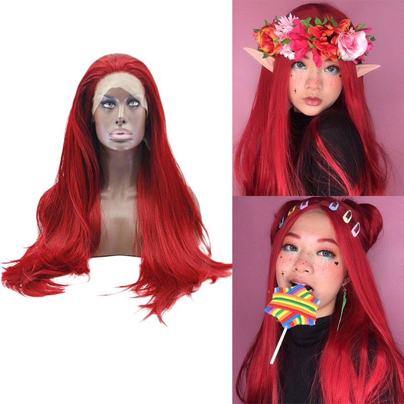 Anogol Red Long Straight Hair Wigs High Temperature Fiber Synthetic Lace Front Wig For Women Drag Queen