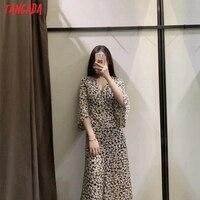 Tangada 2021 Women Flowers Print French Style Long Dress Flare Sleeve Ladies Dress 3H131 2
