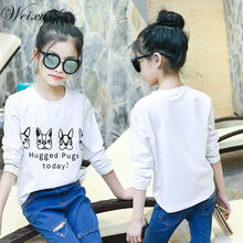 5-14 Years Old Children Kids T Shirt Spring Baby Girls Long Sleeve Cartoon Dog White Top T Shirts Teenager Kids Shirts Clothes girls plaid blouse 2019 spring autumn turn down collar teenager shirts cotton shirts casual clothes child kids long sleeve 4 13t