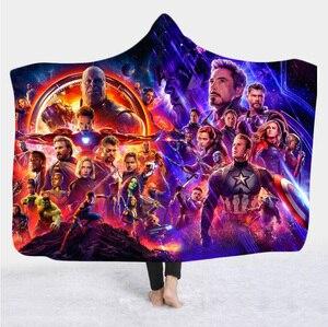 Film Marvel-couverture à capuche en peluche   Couverture en peluche imprimée en 3D, couvre-lit en polaire Sherpa, couverture en laine douce, literie Vintage 023