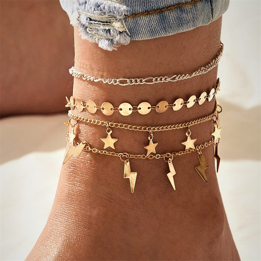 Vintage New Beaded Beach Foot Jewelry Fashion Style Anklets For Women Boho Gold Stars Lightning Sequins Pendant Anklet