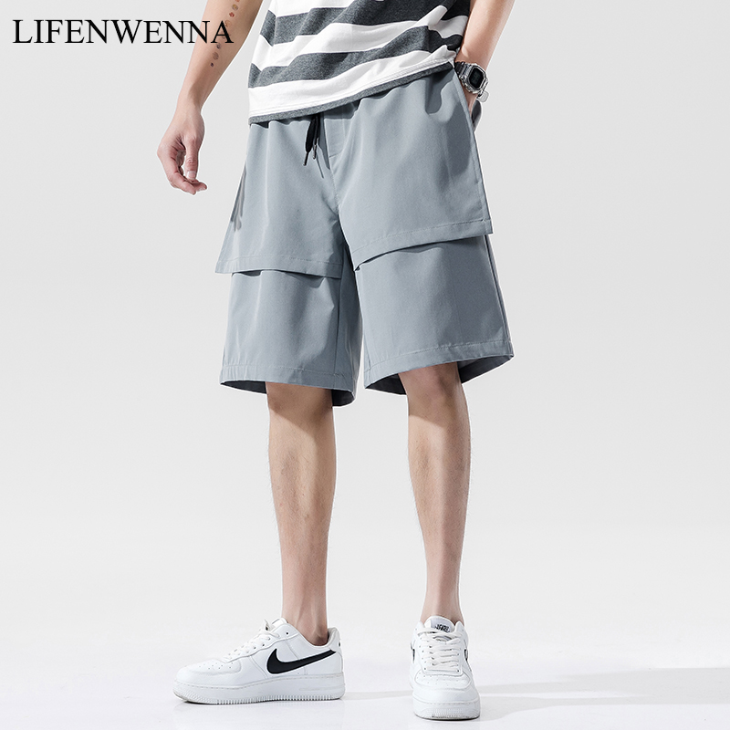 LIFENWENNA Men's Casual Shorts Summer New Fashion Design Solid Shorts Loose Patchwork Beach Mens Shorts Plus Size M-5XL