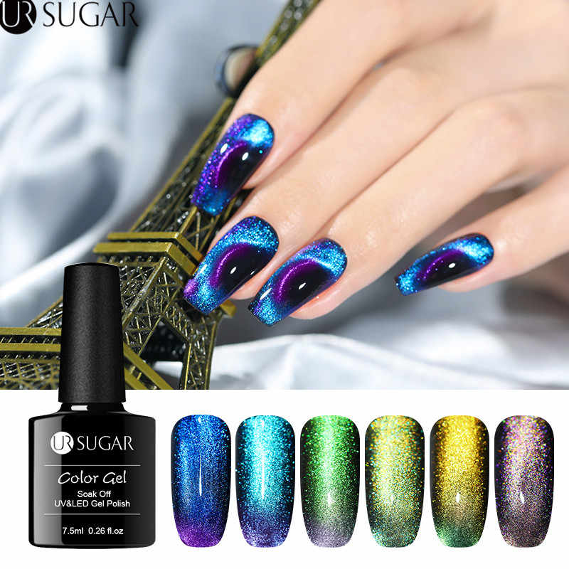 UR Gula 7.5 Ml 9D Cat Eye Nail Gel Polish Chameleon Magnetic Uv Gel Varnish 5D Ungu Biru Rendam Off UV LED Nail Art Gel Lacquer