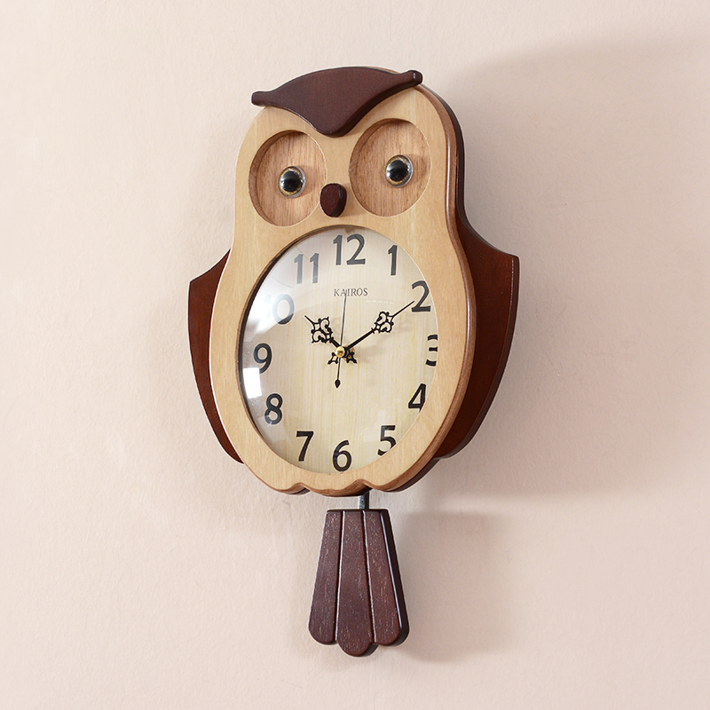 Wooden Wall Clock Modern Design Pastoral Style For Living Room Owl Wood Clocks Bird Wall Watch With Tail Swing Home Decor Silent
