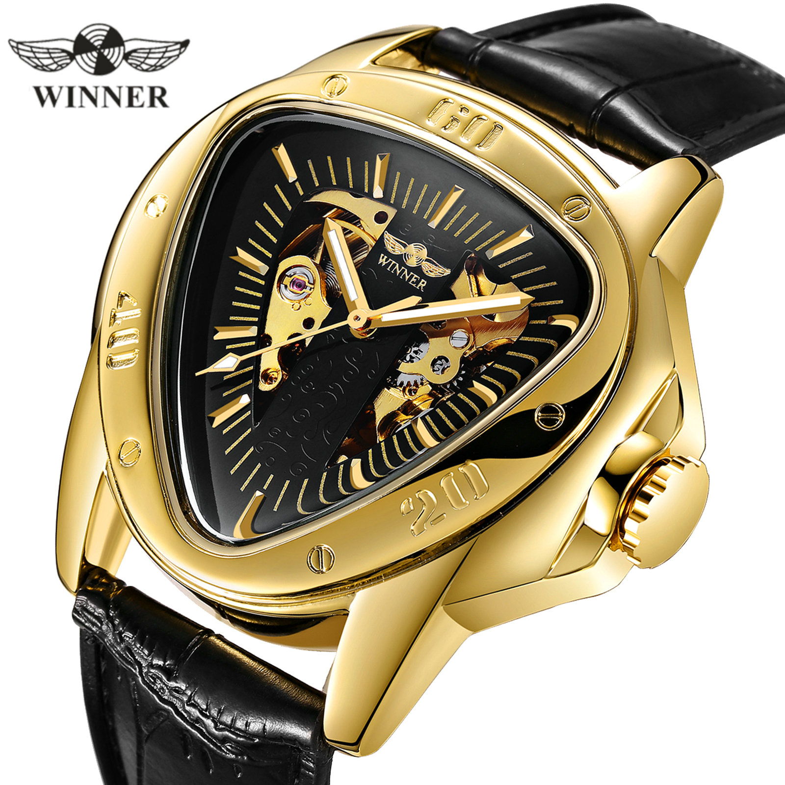 WINNER Official Sports Automatic Mechanical Men Watch Racing Triangle Skeleton Wristwatch Top Brand Luxury Golden Gift