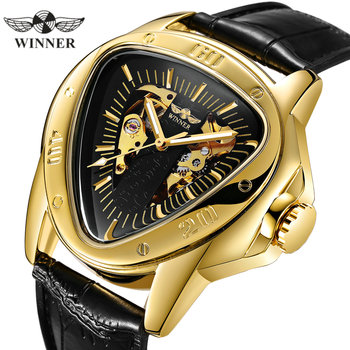 WINNER Official Sports Automatic Mechanical Men Watch Racing Triangle Skeleton Wristwatch Top Brand Luxury Golden + Gift Box winner men s watch top brand luxury mechanical watch men transparent skeleton leather sports clock male wristwatch saat erkekler