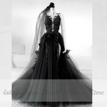 Floral negro gótico vestido de boda lateral Sexy vestido de Novia 2020 Vestidos de Novia sin respaldo Puffy vestido boda de tul de talla grande