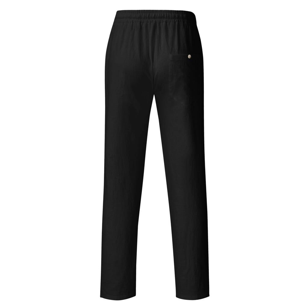 H50720e3235354fbbb69d0e62a0be5947z Feitong Fashion Cotton Linen Pants Men Casual Work Solid White Elastic Waist Streetwear Long Pants Trousers