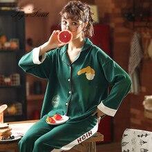 Women pajamas sets loose housewear health 100% cotton long trousers indoorsy life pijama feminino autumn winter