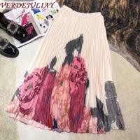 VERDEJULIAY European Milan Fashion Runway Designer Pleated Skirt Women 2020 Spring New Sweet Lady Floral Print Midi Skirt