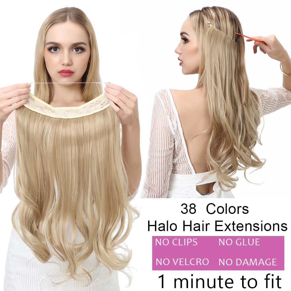 "12""14"" 16"" 18"" Wave Halo Hair Extensions Invisible Ombre Bayalage Synthetic Natural Flip Hidden Secret Wire Crown Hair Piece 1"