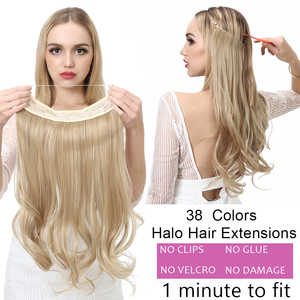 "12""14"" 16"" 18"" Wave Halo Hair Extensions Invisible Ombre Bayalage Synthetic Natural Hidden Secret Wire Crown Hair Piece(China)"