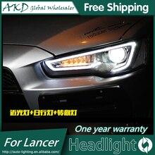 Reflektor AKD do stylizacji samochodu do Mitsubishi Lancer reflektory Lancer EX LED reflektor DRL H7 D2H ukrył opcję Angel Eye Bi Xenon Beam