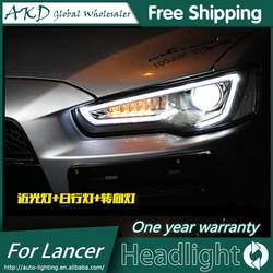 AKD estilo de coche lámpara de cabeza para Mitsubishi Lancer faros Lancer EX LED faro DRL H7 D2H escondió opción Ojo de Ángel Bi Xenon haz