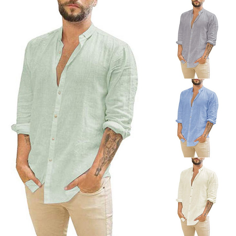 NEW Casual Cotton Linen Shirts Men Summer Solid Simple Long Sleeve Shirts Hawaiian Comfortable Slim Thin Male Loose Shirt Tops