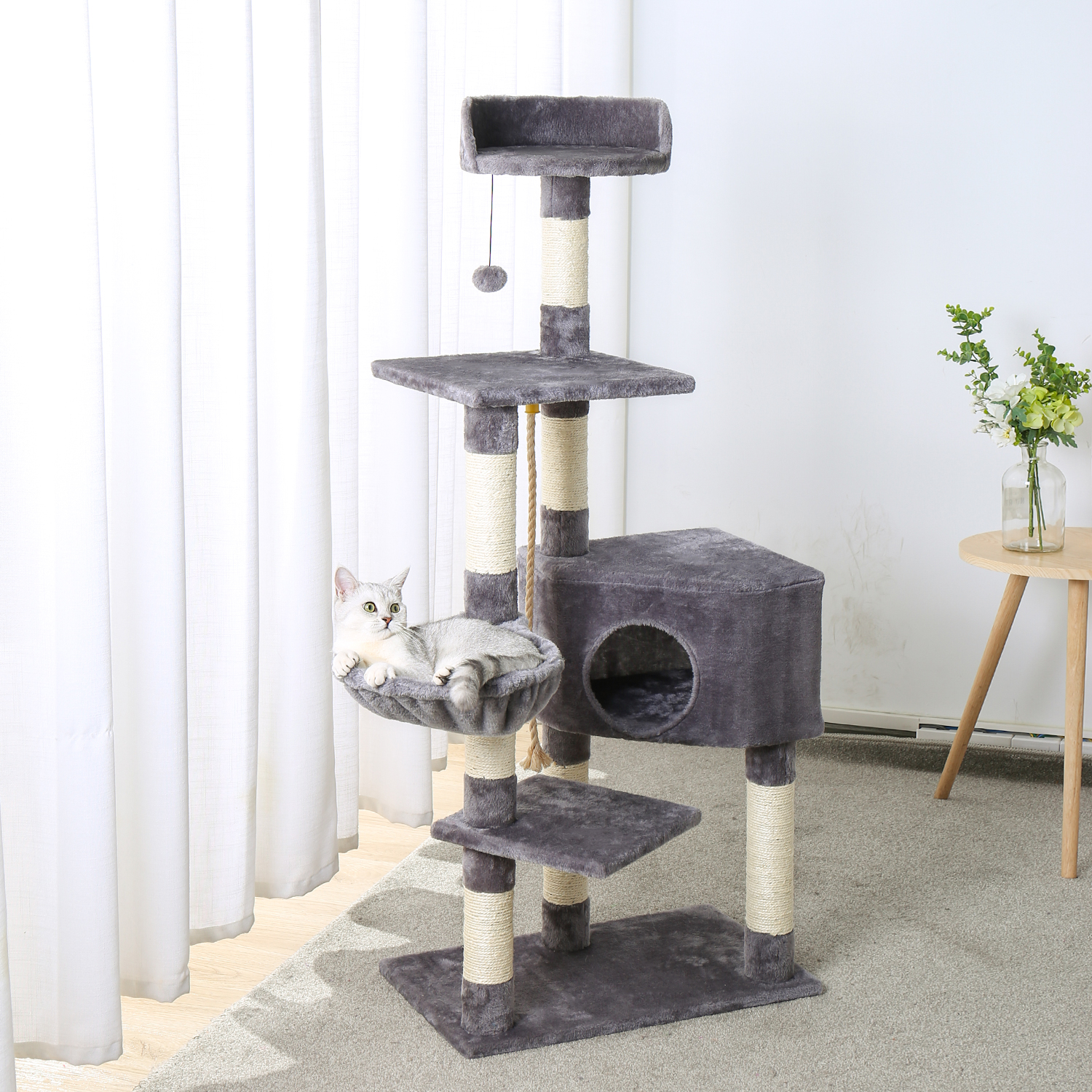 Fast Delivery Pet Cat Tree Condo House Scratcher Posts For Cat Kitten Solid Wood Cat Jumping Toy With Ladder Playing Tree Towers