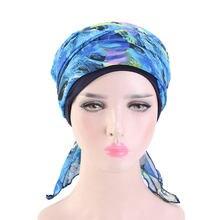Turban à large bord en mousseline de soie pour femmes, bandeau élastique indien, écharpe musulmane, chapeau, Hijab décontracté, bandeau pliant pour cheveux, Bandana