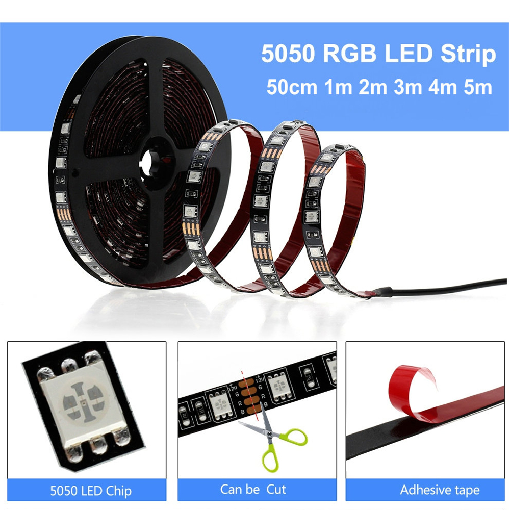 USB LED Strip RGB Changeable LED TV Background Lighting 50CM 1M 2M 3M 4M 5M DIY USB LED Strip RGB Changeable LED TV Background Lighting 50CM 1M 2M 3M 4M 5M DIY 5V Flexible LED Light Tape RGB LED Strip 5050.