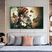African Woman with Butterfly Canvas Paintings on the Wall Art Posters And Prints Colorful Black Girl Art Picture Home Decoration
