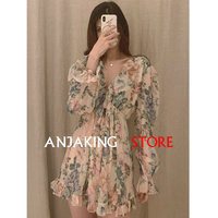 summer women's casual long sleeved V neck Floral print Rompers fashion bohemian 100%silk flower beach jumpsuit Sexy mini pants