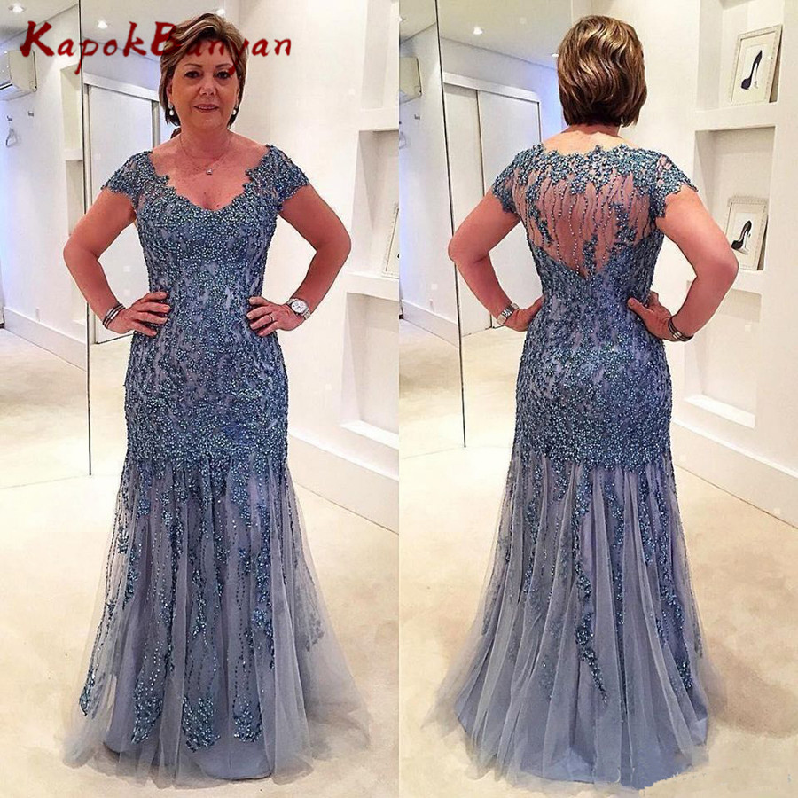 Shiny Rhinestones Beaded Long <font><b>Mother</b></font> of the Bride Dress Short Sleeves Sheer Back Formal Evening Gown image