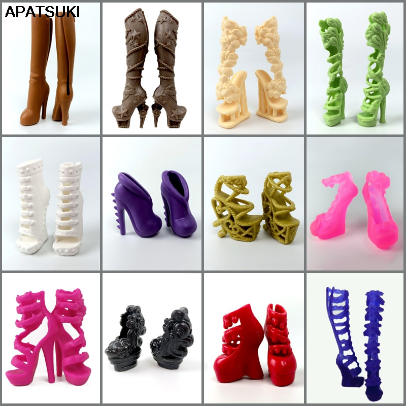 1pair High Quality Original Shoes For Monster High Doll High Heel Shoes Dolls Accessories Booties For 1/6 Demon Monster Dolls