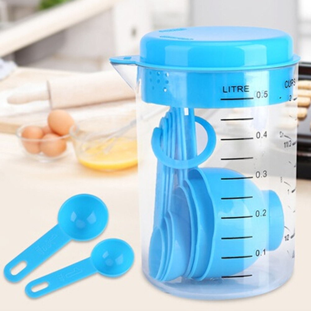 Measuring Cup Container Set with Spout and Stackable Spoon Baking and Cooking 7 Piece Plastic Cutlery Set Cooking Kitchen Tool